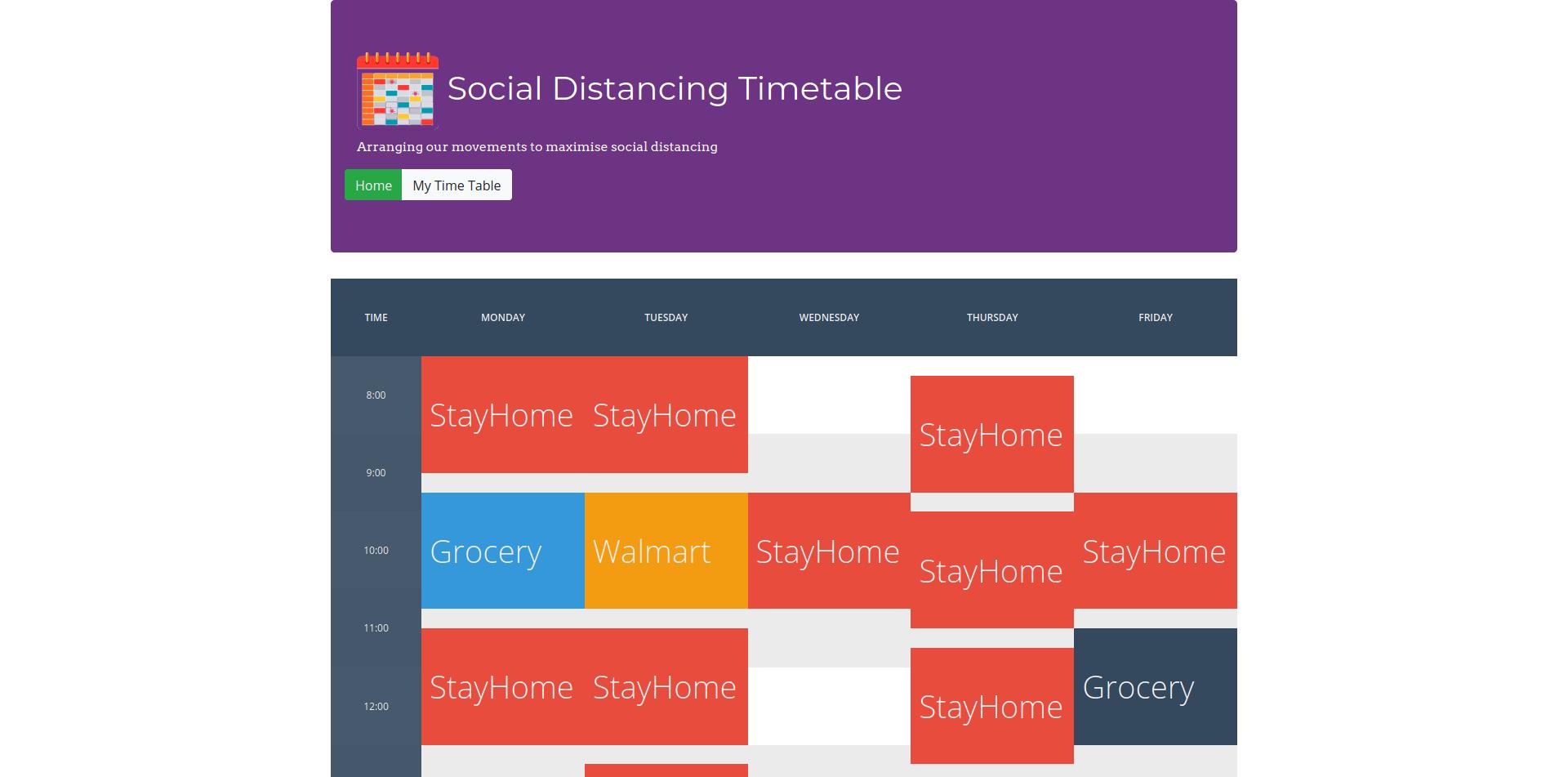 Social Timetable