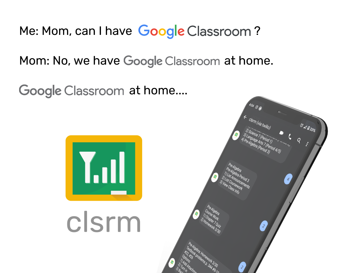 clsrm - GClassroom via SMS