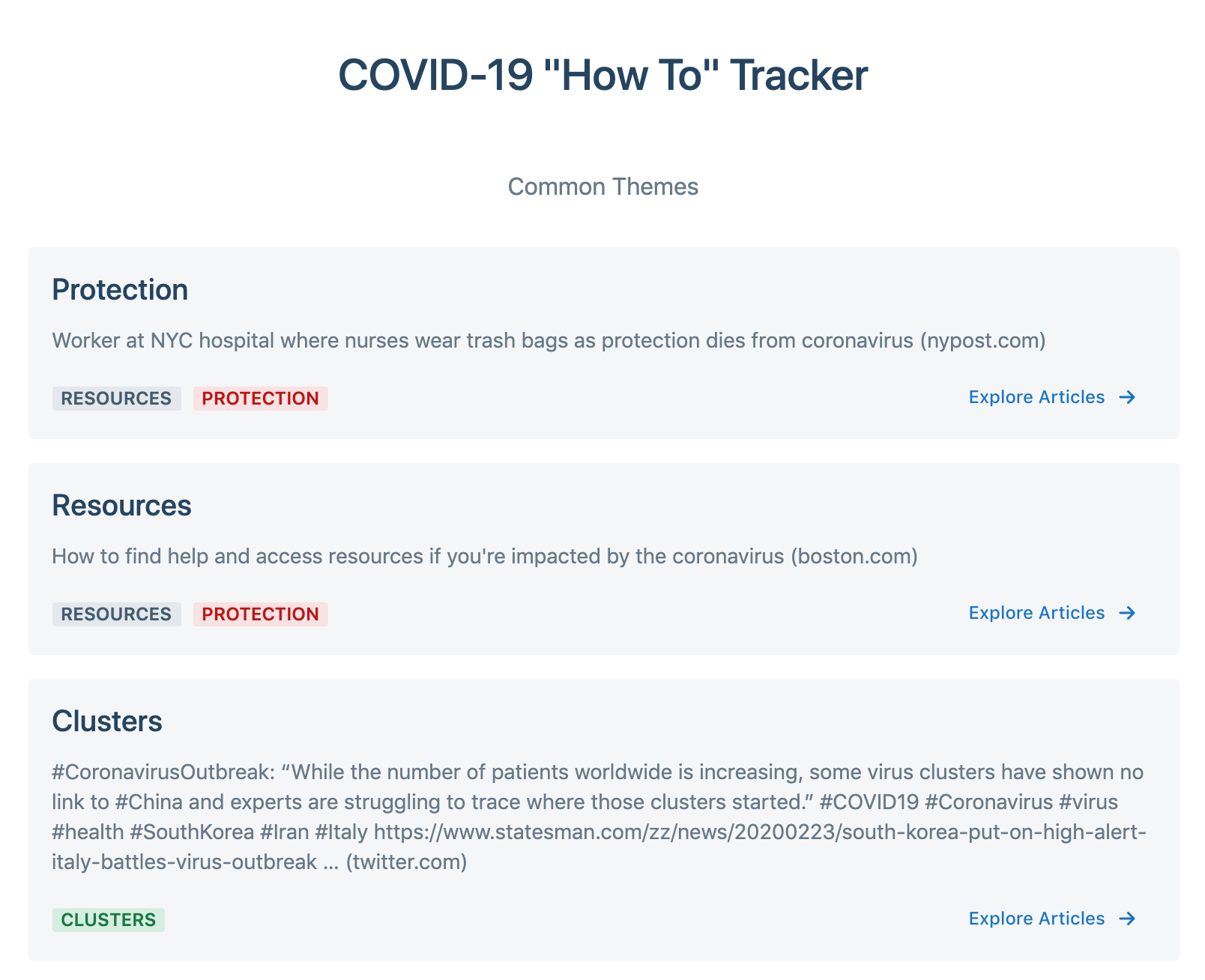 "COVID-19 ""How To"" Tracker"