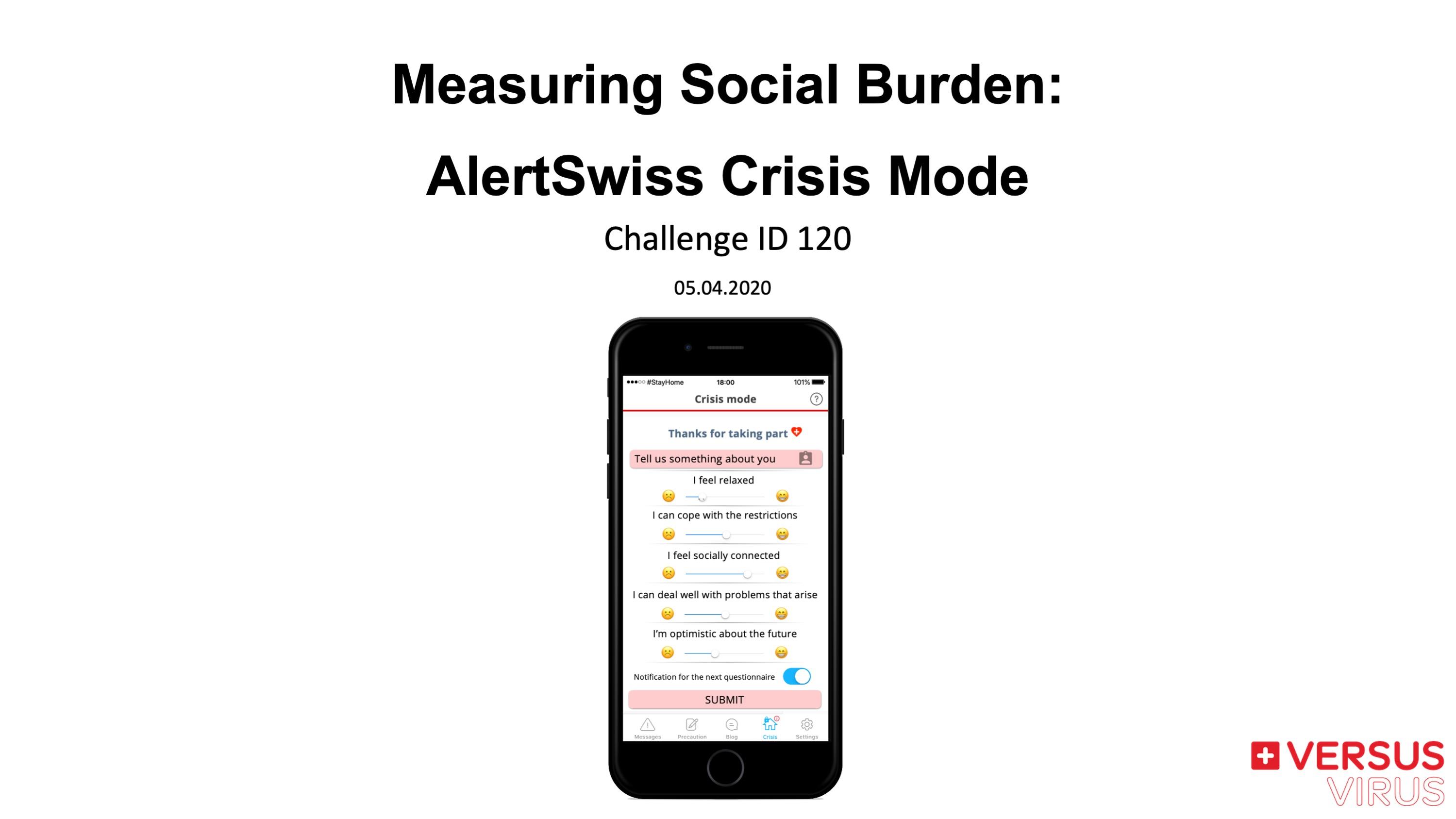 Measuring Social Burden: AlertSwiss Crisis Mode