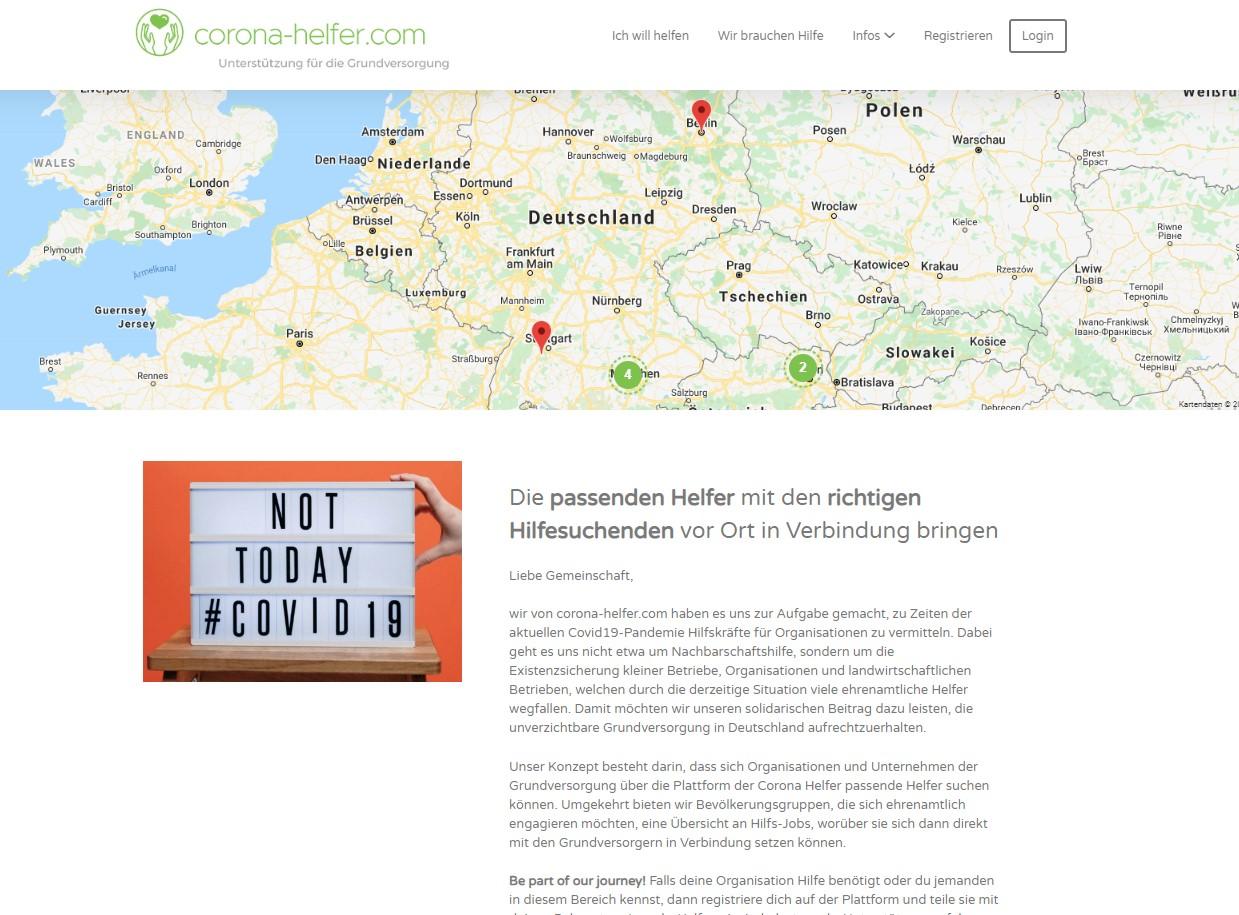 Corona-Helfer.com (Volunteering platform)