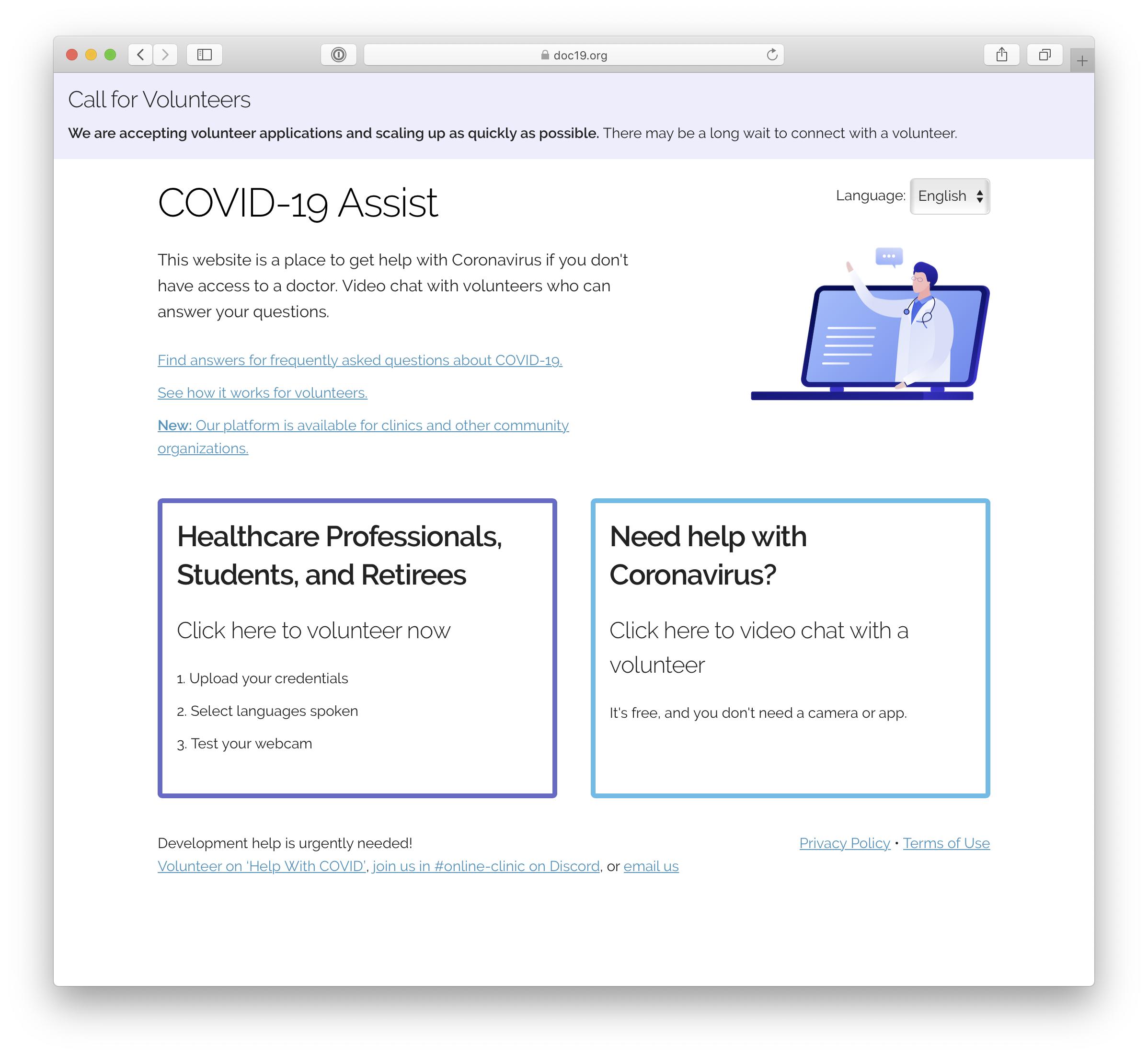 doc19.org - telehealth for COVID-19