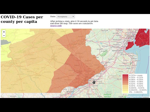 covid-19 region map per capita