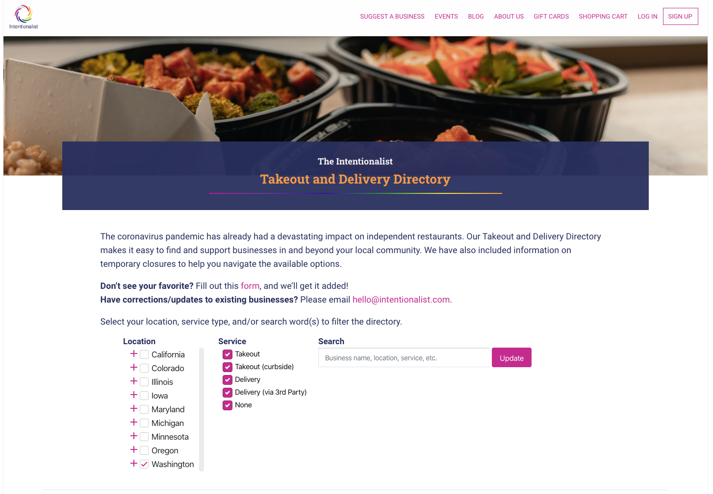 Intentionalist Takeout and Delivery Directory