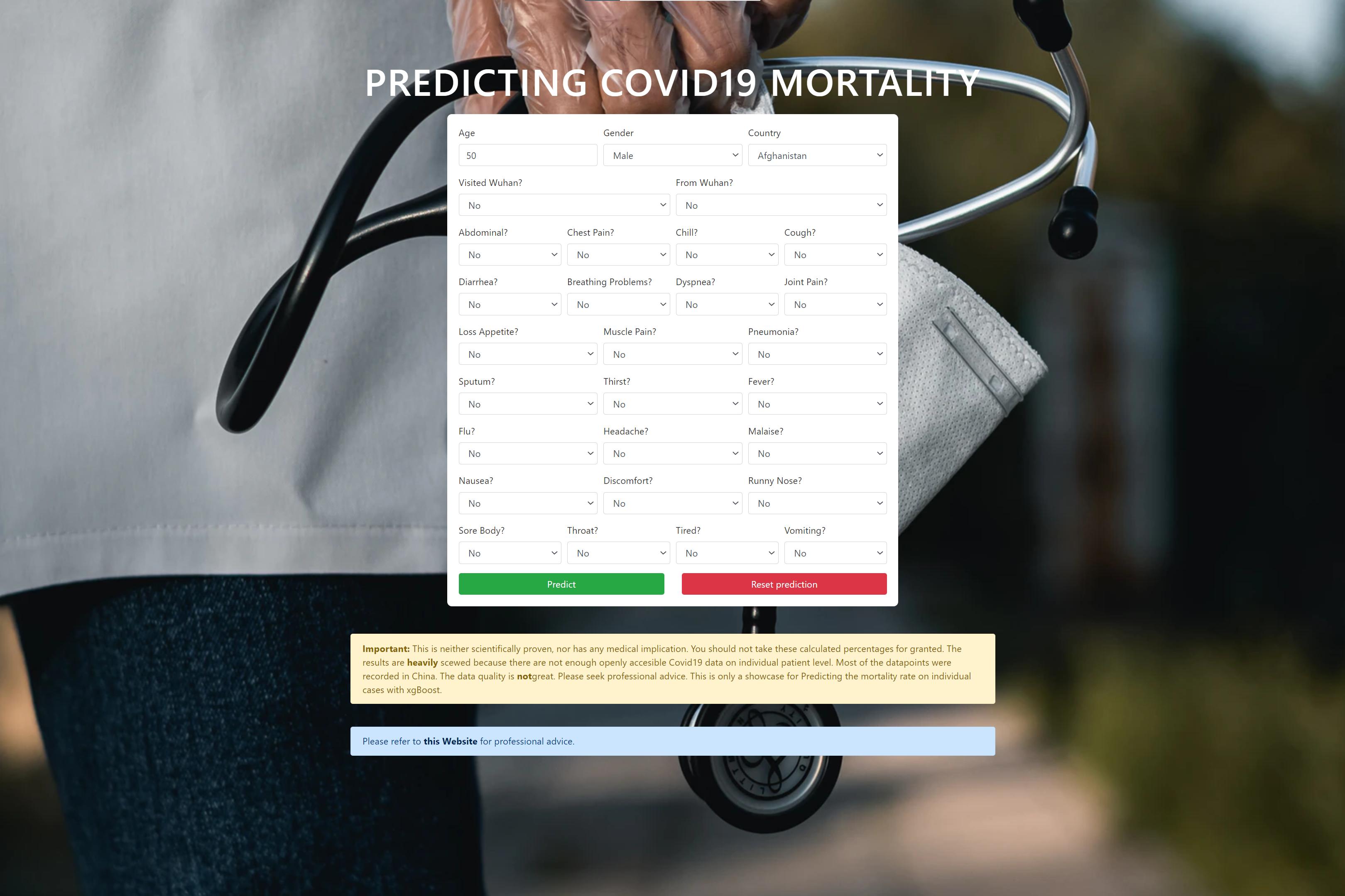 XgBoost Predicting Covid19 Mortality: React/Flask WebApp