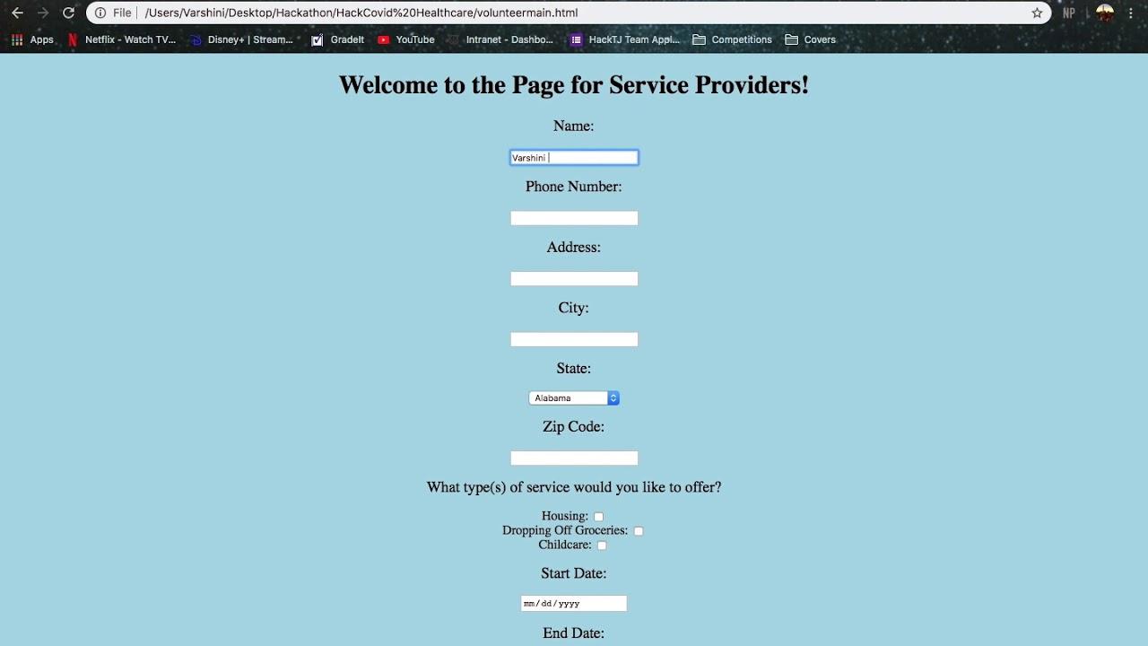 COVID-19 Service Provider