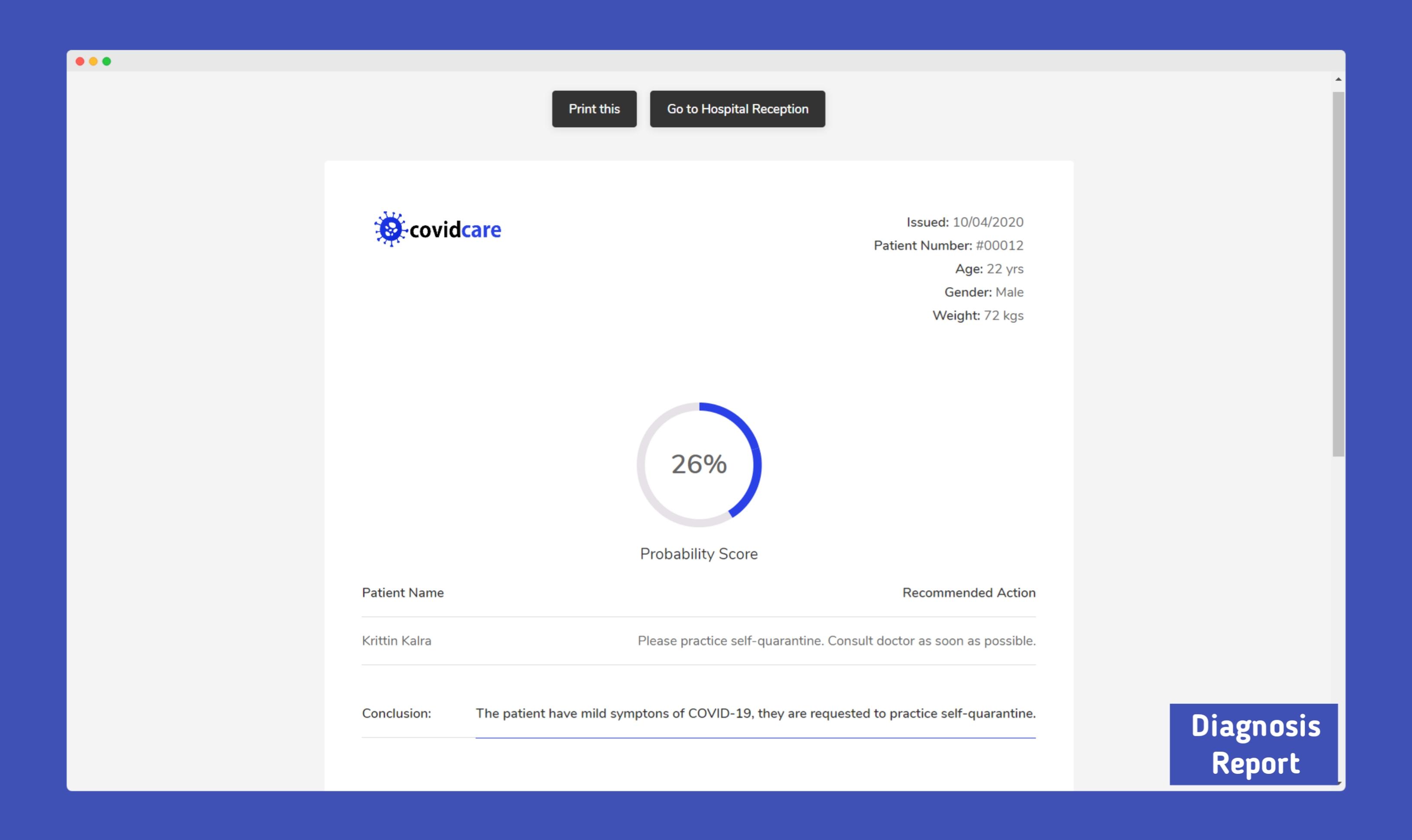 CovidCare - A.I powered Digital Hospital and Laboratory